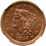 1854 N-5 R-3 Ngc Ms 64 Bn Braided Hair Large Cent Coin 1c
