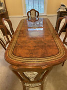 Dining Room Mahogany Table Set With Chairs And Corner Cabinet Versace Symbol