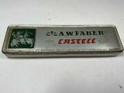 Vintage Faber Castell Pencil Empty Tin Litho Embossed Pencil Box