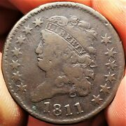 1811 Classic Head Half Cent Very Good To Fine Vg F Key Date 1/2c Coin