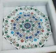 30and039and039 Antique White Marble Table Top Inlay Malachite Center Coffee Home Decor S14