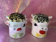 Vintage Holt Howard Cow Head Anthropomorphic Salt And Pepper Shakers