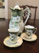 Antique R.s. Prussia Chocolate Tea Pot With Two Cups And Saucers