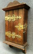 Antique French Key Box Furniture 1930-40's Wood Woodwork Brass Ornaments