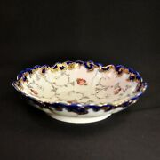 Nippon Unmarked Shallow Bowl Raised Silver Gold Enamel W/blue And Magenta On White