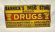 Antique Early 1900and039s Drugs Prescriptions Toilet Sundries Tin Sign Barrickand039s Drug