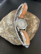 Orange Spiny Oy Sterling Silver Womens Inlay Watch Tips Navajo Jewelry Rare 1555