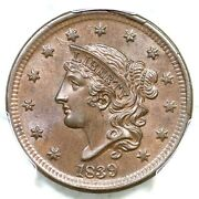 1839 N-9 R-2 Pcgs Ms 64 Bn Cac Silly Head Matron Head Large Cent Coin 1c