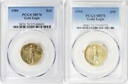 1989 And 1994 10 Gold Eagle Pcgs Ms70 Low Pop 70 And 63 Coins Low Mintage