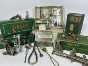 Vintage Singer Sewing Machine Attachments And Accessories In Boxes Lot