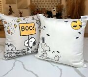 Pottery Barn Outdoor Peanuts Snoopy Pillow Set Of 2 Sold Out Halloween Fall Nwt