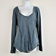 Free People Tunic Blouse L Blue Long Sleeve Crocheted Scoop Neck