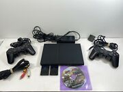 Sony Playstation 2 Ps2 Slim Console 2 Remote 1game 2memory Cards All Cables