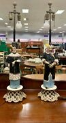 Oriental Porcelain Lamps Mid Century 1949 Male And Female Asian Style Art Deco