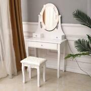 Vanity Set Makeup Dressing Table With Leds Lights With Stool And Mirror White