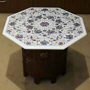 30 Antique White Marble Table Top Coffee Center Inlay Peacock With Stand