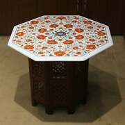 24 Antique White Marble Table Top Center Coffee Inlay Malachite With Stand K1