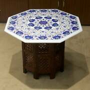 30 Antique White Marble Table Top Coffee Center Inlay Pietra Dura With Stand