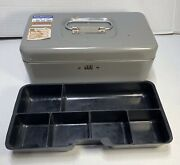 Vintage Metal Lit-ning Products Company Money Box With Coin Money Tray Made Usa