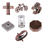 7pcs Assorted Lock Puzzle Metal Brain Teaser Iq Test Toy For Adults And Children