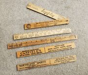 Lot Of 5 Fish Rulers Vintage Wood Measure Your Catch Freebies Sears Ect