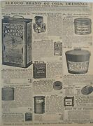 1911 Antique Seroco Oil And Turpentine Cans Art Sears Catalog Page Vtg Print Ad