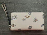 New With Tiny Defect Coach Large Phone Wallet With Dandelion Floral Print Chalk
