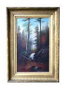 Oil On Canvas 19th C. Woodland Stream Landscape, New Hampshire Or Vermont