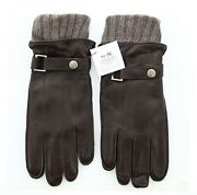 Coach Menand039s Winter Gloves Leather 3 In 1 Layered Glove Brown F83853 S
