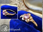 Antique Solid 10k Gold Pink Stone Solitaire Flower Ring Sz 5.5