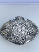 18ct White Gold Large Diamond Oval Cluster Ring 10.2g Size Q Not Scrap