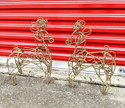 Pair Of Twisted Gold Wire Reindeer 19andtimes 11 Christmas Decorations Heavy Euc