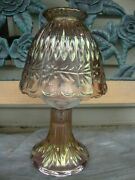Antique Vtg Iridescent Carnival Glass Fairy Lamp Candle Holder