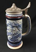 Vintage Avon Beer Stein Pewter Lid Aviation Themed Handcrafted Brazil 1981