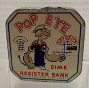 Vintage Popeye Lithographed Tin Daily Dime Register Bank Copyright Kfs 1929