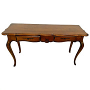 Ethan Allen Sofa Table Console Solid Walnut Two Drawers Vintage French Country