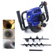 52cc 2stroke Earth Auger Gas Powered Post Hole Digger Engine W/ 4 8auger Bits