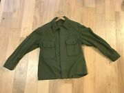 Us Army Korean War 1950s Cold Weather Wool Field Shirt 108 Olive Green Med Large