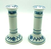 Vintage Set Of 2 Ceramic Candle Holders Floral Pillar Art Deco White 6.5 Tall
