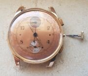 Vintage Chronograph Swiss Made 18k Gold Men Watch Hand Winding From The 40`s