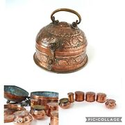 Antique Indian Copper Embossed Tea Spice Box Small Inner Pots And Tray Betel Box