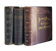 Lot Of 3 Huge Leather Antique Books Classic Rustic Home Office Library Decor