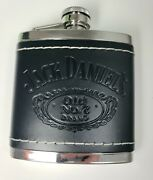 Jack Daniels Old 7 5oz Leather Wrapped Steel Hip Flask - Tennessee Whiskey