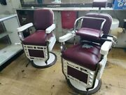 Two Theo A Kochs Antique Barber Chairs.