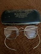 Antique Octagonal Eyeglasses Spectacles With Case 10k Rgp Chicago Optometristis