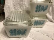 Pyrex Amish Butterprint 6 Piece Refrigerator Dishes Turquoise Very Good Cond