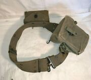 Vintage Wwii Us Army Web Belt First Aid Canvas Pouch And Small Arms Ammo Pouch Bag