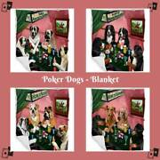 Home Of Dogs Cats Playing Poker Pet Photo Woven Blanket Bedroom Décor