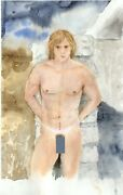 Stormy Painting Watercolor 1/18/50 Esteban Free Ship Nude Male