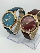 Fossil Women Leather Band Green Red Dial Watch 741807 Lot Of 2